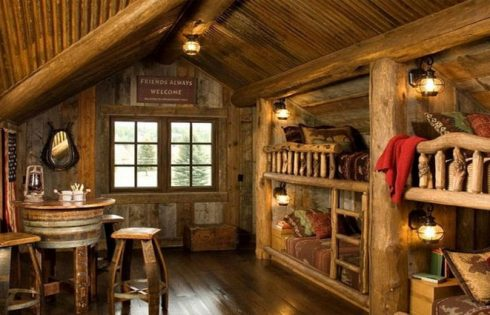 Rustic Log Cabin Theme Bedrooms for Kids